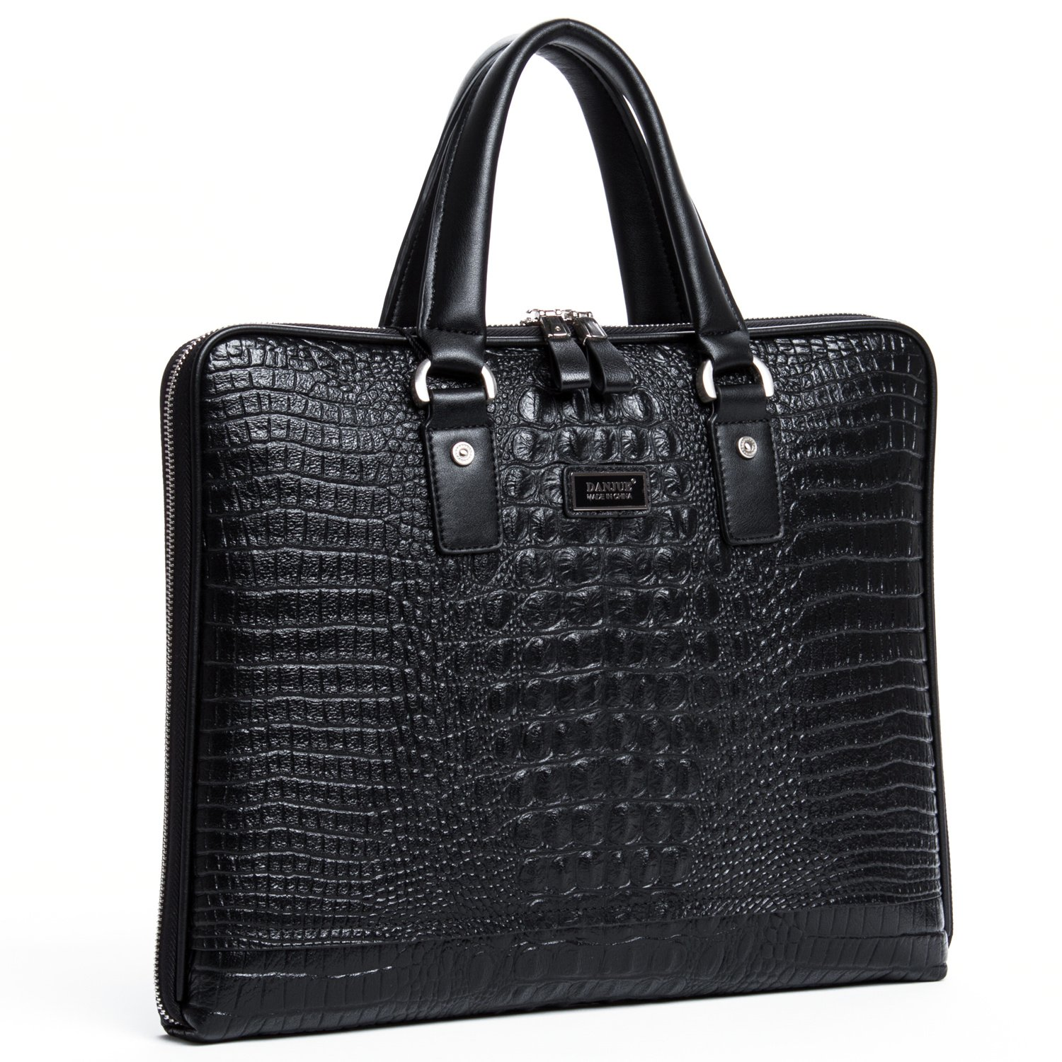 DANJUE Briefcase Bags for Men Crocodile Genuine Leather Business Handbag Office Shoulder Messenger Satchel Bag 8039-1-2