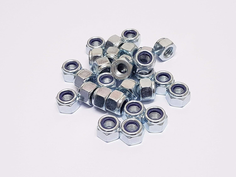 Lot de 50 /écrous en nylon plaqu/é zinc M8 P