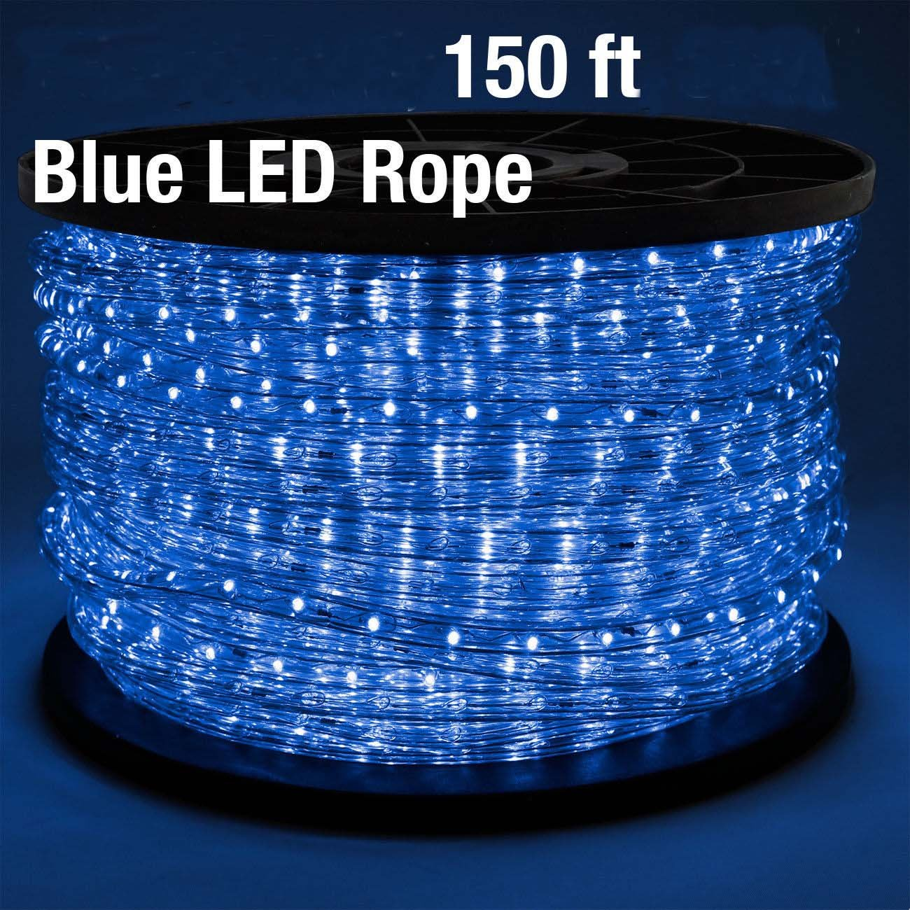 150 Feet BLUE, Flex LED Rope Light 2-Wire Outdoor Home Decoration Party Xmas Lighting 110V