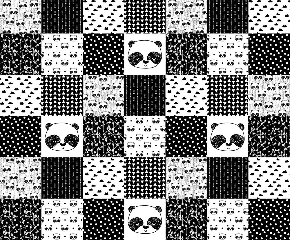 Amazon com pandas fabric panda quilt fabric patchwork fake quilt fabric panda black white nursery baby whole cloth cheater quilt fabric by andrea lauren