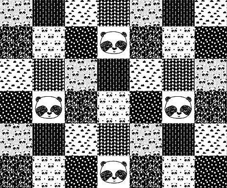 Pandas fabric panda quilt fabric patchwork fake quilt fabric panda black white nursery baby