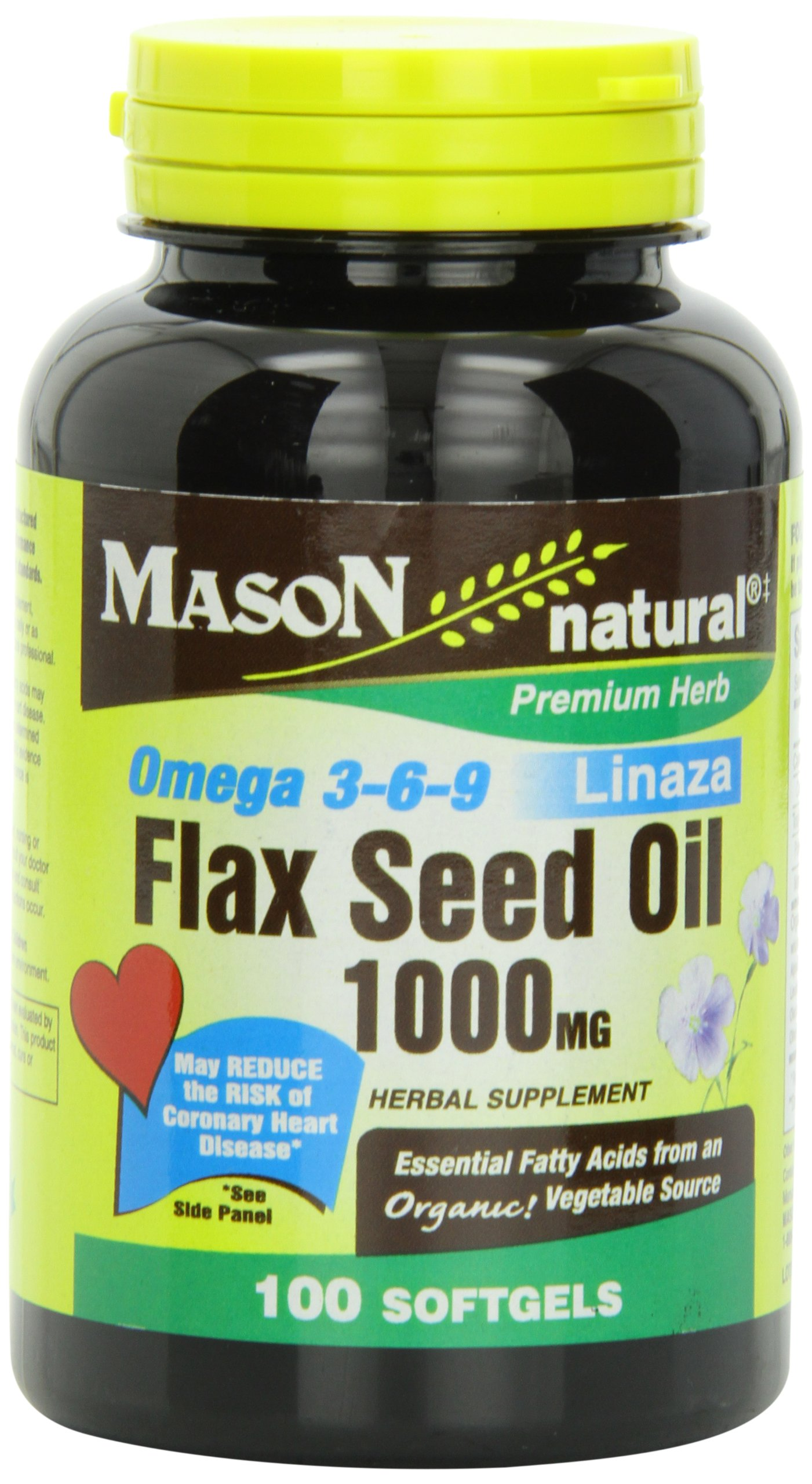 Mason Natural, Flax Seed Oil, 1000 Mg (Omega 3-6-9 Linaza), Softgels, 100 Count Bottle (Pack of 3), Dietary Supplement with Omega Fatty Acids from Flax Seed, Supports Heart and Joint Health