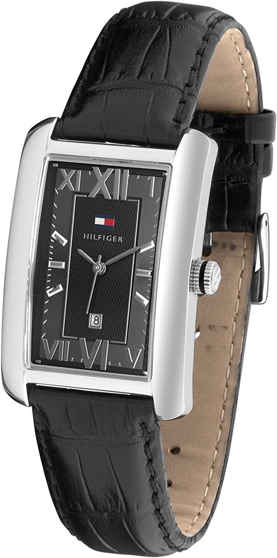 Tommy Hilfiger 1710260 - Reloj de caballero de cuarzo, correa de piel color negro