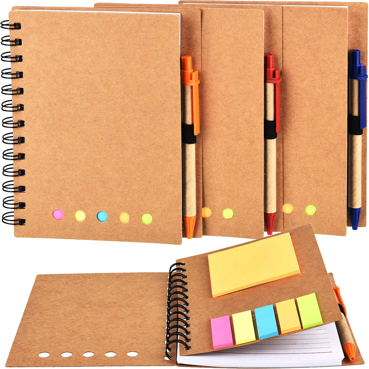TOODOO 4 Packs Spiral Notebook Lined Notepad with Pen in Holder and Sticky Notes, Page Marker Colored Index Tabs Flags (Brown Cover, Large) by TOODOO