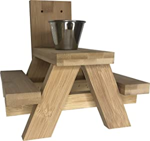 Squirrel Feeder Picnic Table - Made of Eco-Friendly Bamboo – Squirrel Picnic Table with Cup for Squirrel Food – Tree or Post Mount Squirrel Picnic Table Feeder – Use Loose Corn Peanuts Etc