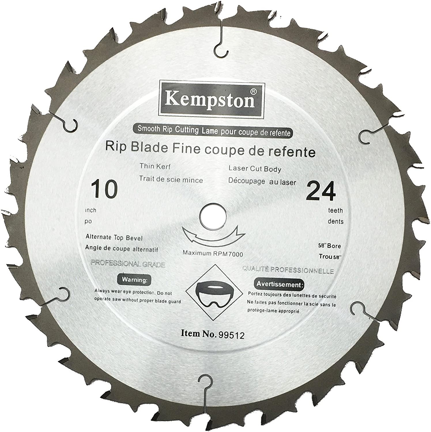 Kempston 99312 10-Inch by 24 Tooth Industrial Rip Thick Kerf Blade with 5//8-Inch Arbor