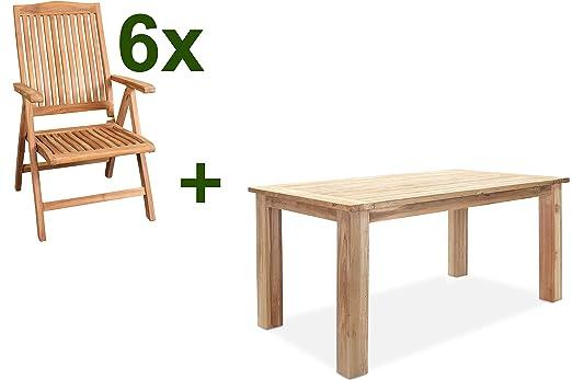 Outflexx - Conjunto de muebles de jardín, natural, madera de ...