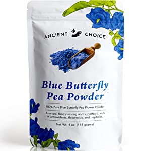 Ancient Choice - Butterfly Pea Flower Powder (4 ounce) | Blue Matcha Tea | Ceremonial (Highest) Grade | Adaptogenic Raw Culinary | Natural Food Coloring | Thai Non-GMO | Vegan