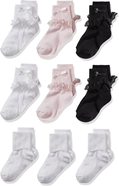 Cherokee Little Girls 9 Pack Turn Cuff Shorty Socks: Clothing