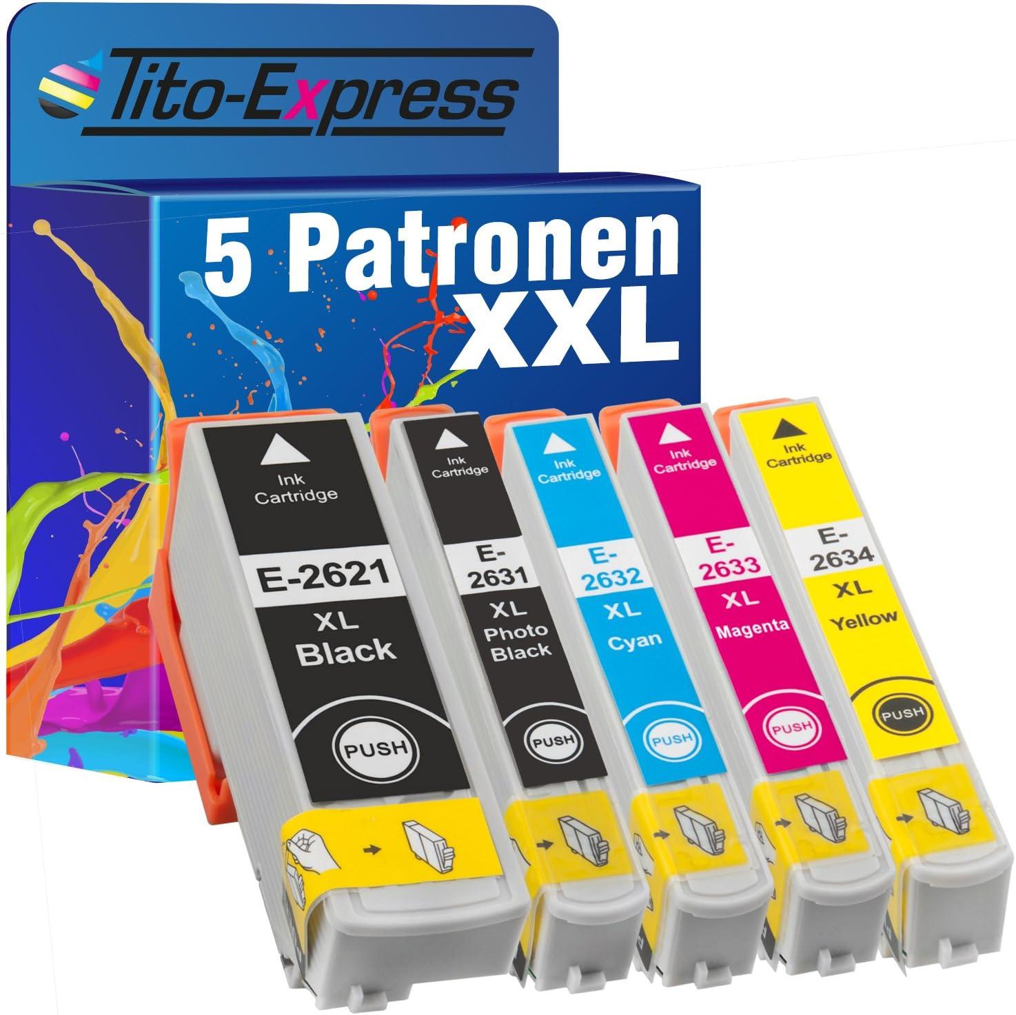 Tito Express Platinumserie 5 Patronen Xxl Kompatibel Mit Epson T2621 T2631 T2632 T2633 T2634 26xl Für Epson Expression Premium Xp 510 520 600 605 610 615 620 625 700 710 720 800 810 820 Bürobedarf Schreibwaren
