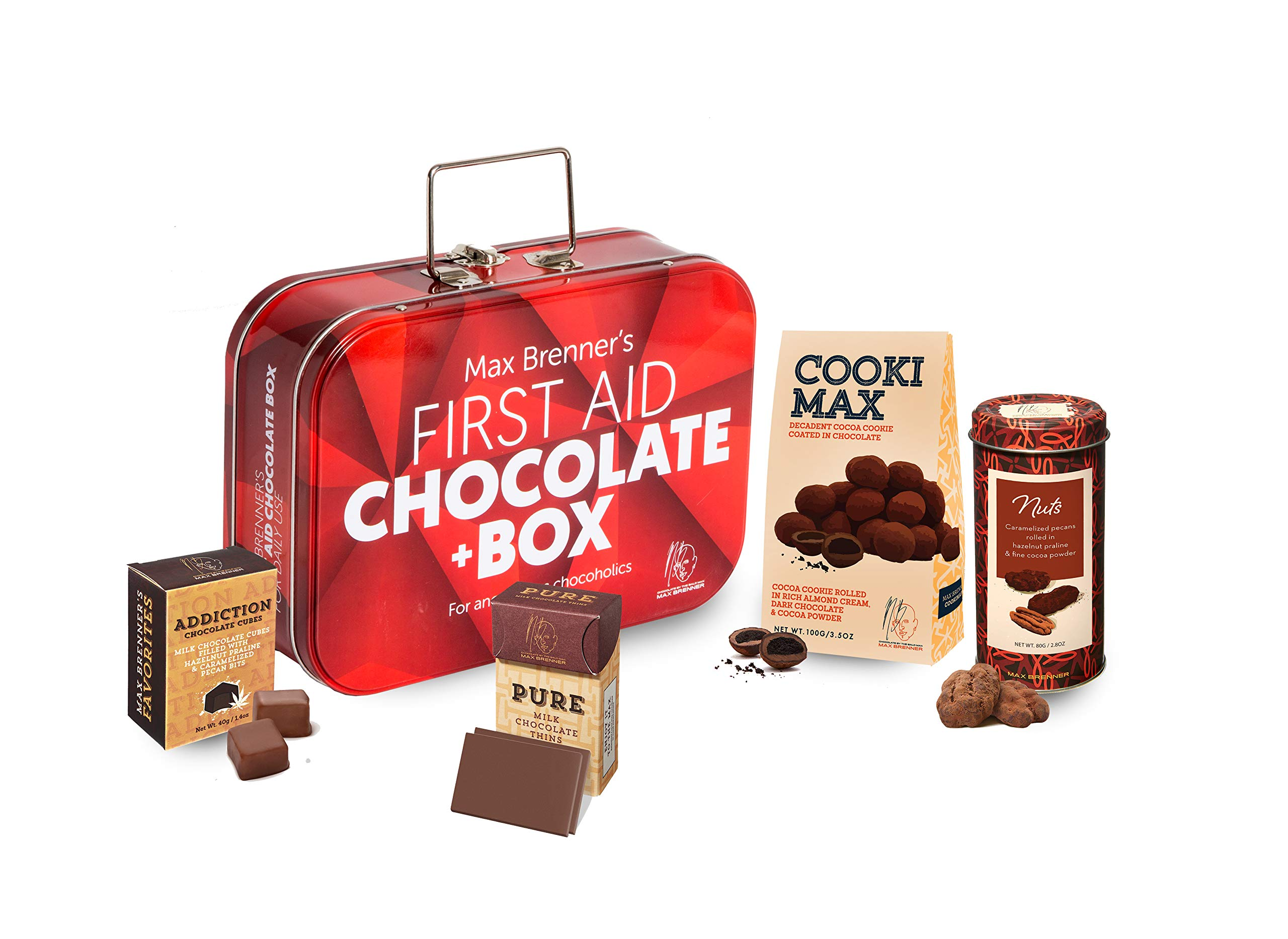 First Aid Chocolate Gift Box: Rectangular Tin with Latch and Handle includes Cookie Max Dark, Pecan Nuts, Pure Milk, and Addiction Cubes by Max Brenner - Kosher by Max Brenner