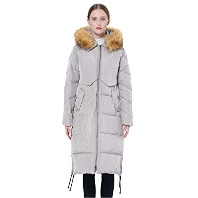 Orolay Women's Winter Drawstring Down Coat Removable Faux Fur: Clothing