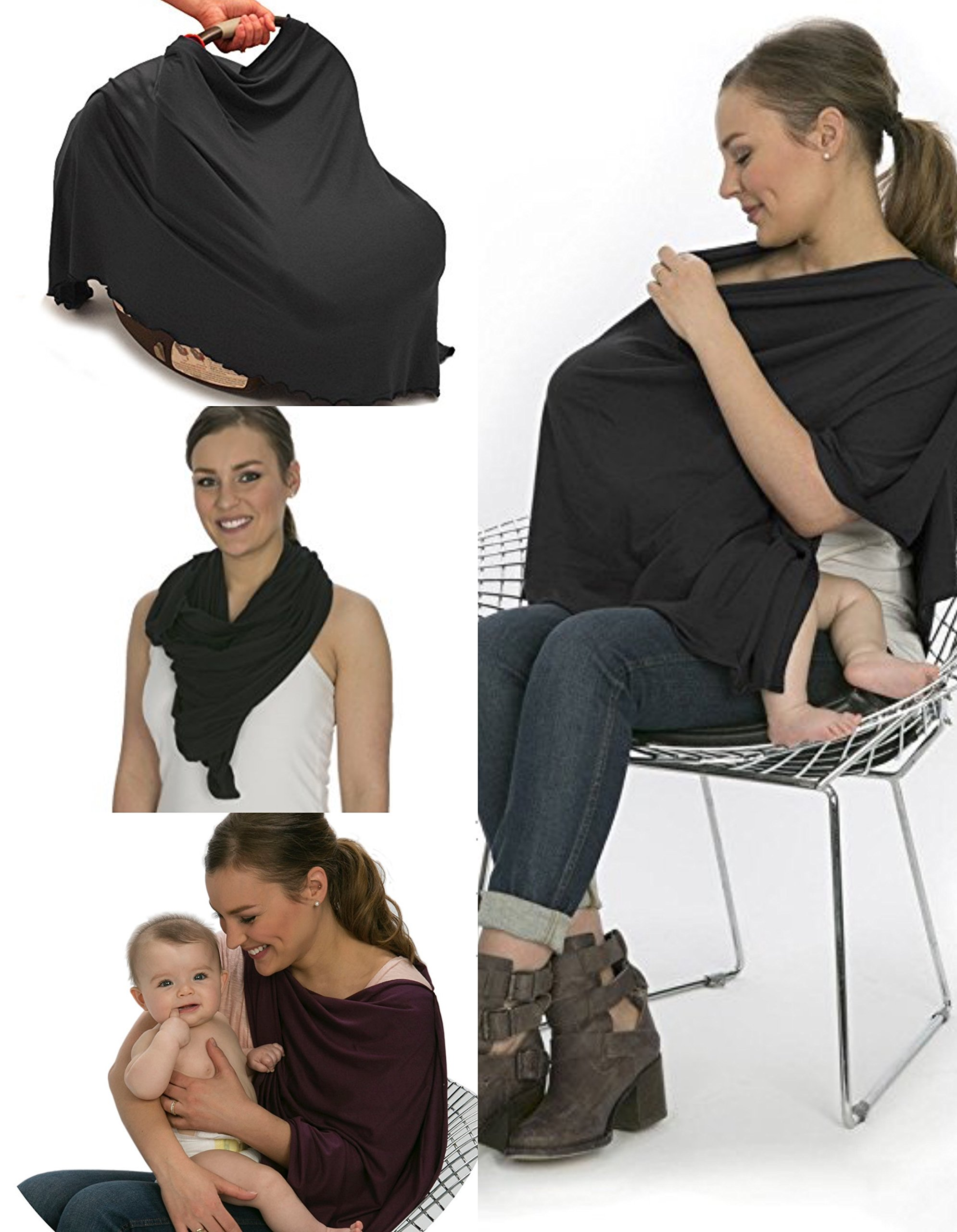 bamboobies Nursing Cover Shawl Scarf Maternity Poncho Top for Breastfeeding and Baby Car Seat Cover, Black