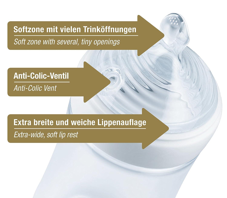 NUOBESTY 3 St/ücke Flaschensauger Silikon Schnuller Weithals Natural Sauger Trinksauger f/ür 6 Monate Baby Neugeborene Kleinkinder Weithalsflaschen