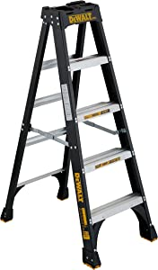 DeWalt DXL3010-05 5-Feet Fiberglass Stepladder Type IA with 300-Pound Duty Rating, 5-Feet, Color may vary