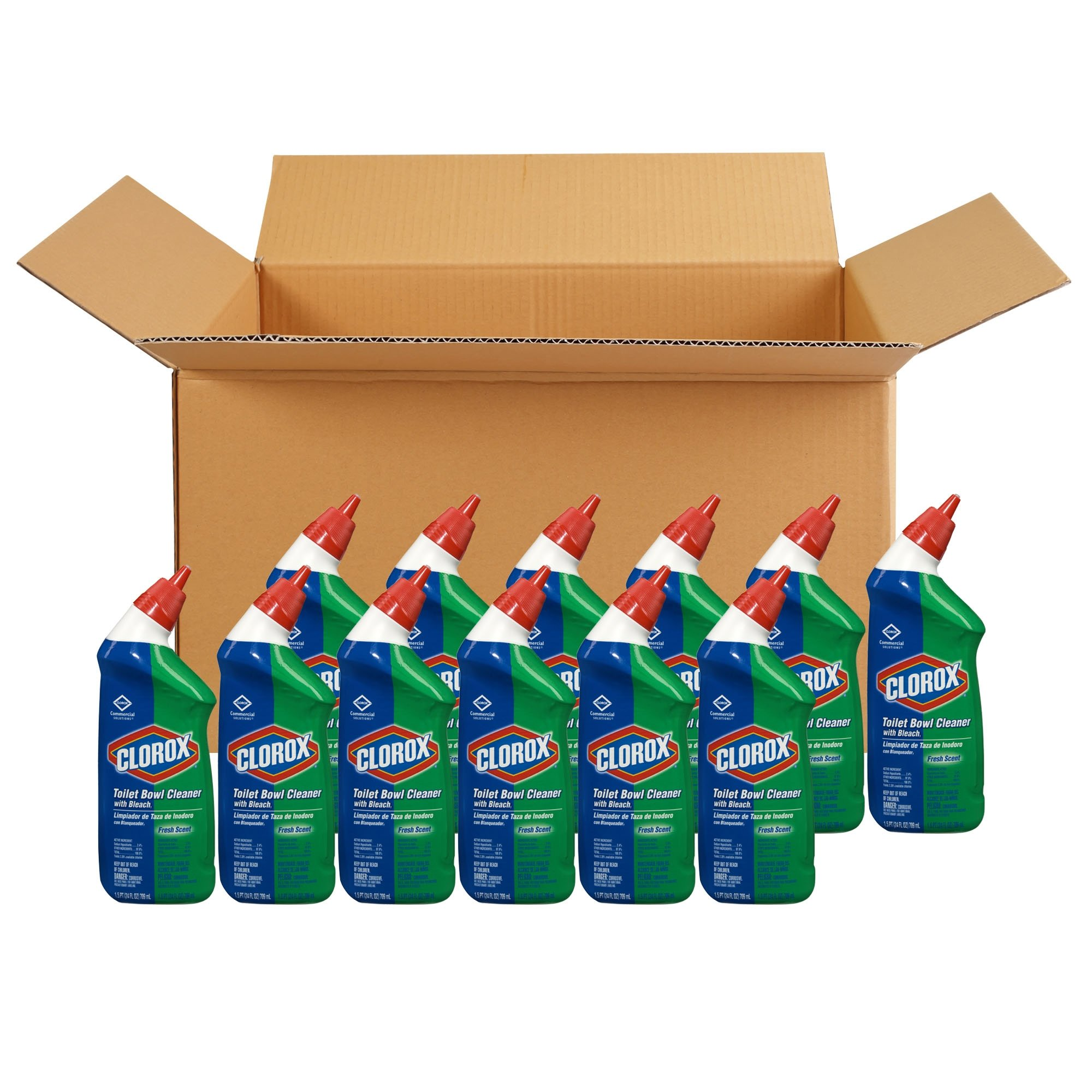 Clorox Toilet Bowl Cleaner with Bleach, Fresh Scent - 24 Ounces, 12 Bottles/Case (00031) by Clorox