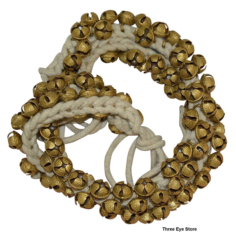 Three Eye Store Kathak Ghungroo (16 No. Ghungroo) Best Quality Big Dancing Bells Ghungroo Pair Handmade Indian Classical Dance Accessories Ghungru (50 + 50) Brass Bell by Three Eye Store