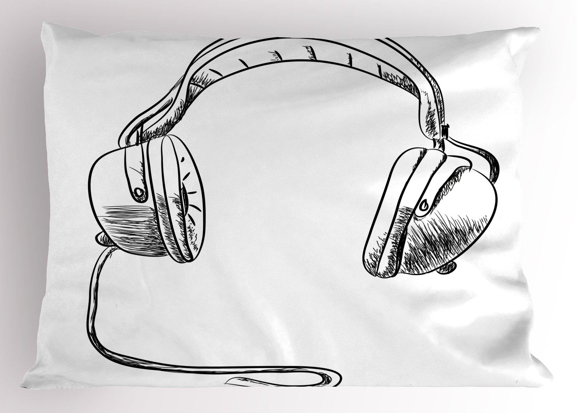 Ambesonne Music Pillow Sham, Sketch Style Hand Drawn DJ Headphones Rhythm Radio Modern Hippie Art Illustration, Decorative Standard Queen Size Printed Pillowcase, 30 X 20 inches, Black White