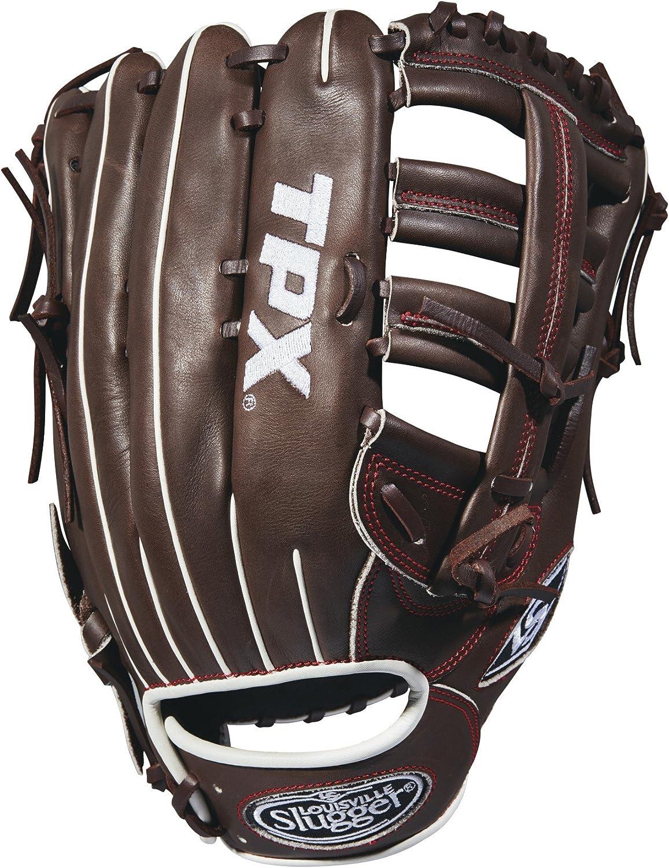 "Louisville Slugger 2018 Tpx Outfield Baseball Glove - Right Hand Throw Dark Brown/Red, 12.75"""