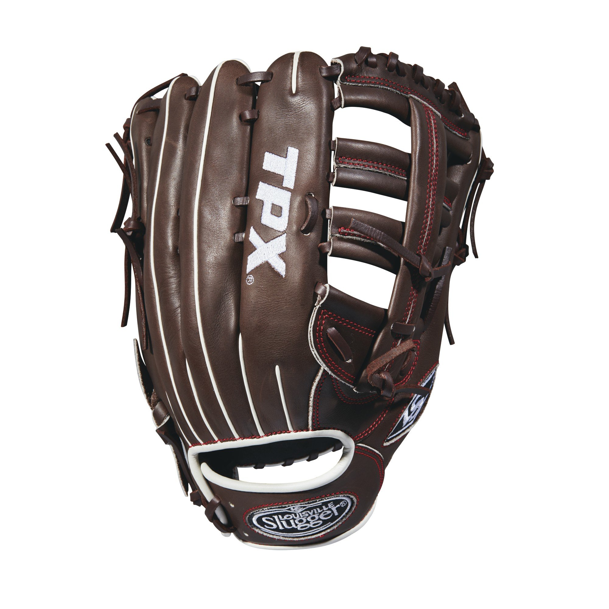 Louisville Slugger 2018 Tpx Outfield Baseball Glove - Left Hand Throw Dark Brown/Red, 12.75'' by Louisville Slugger