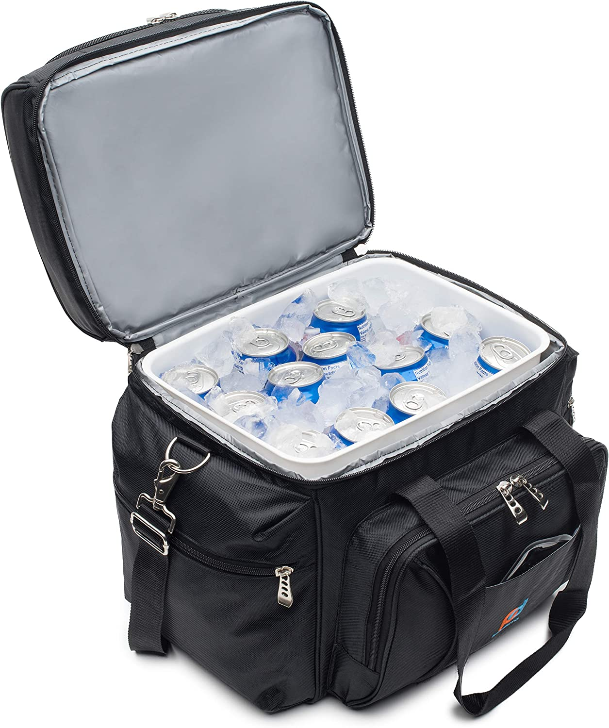 MOJECTO Large Cooler Bag with Leakproof Hard Liner Bucket. Two Insulated Compartments, Heavy Duty 1680D Fabric, Thick Foam Insulation, Reinforced Stiches, Durable Zipper, Metal Clips, Hardliner