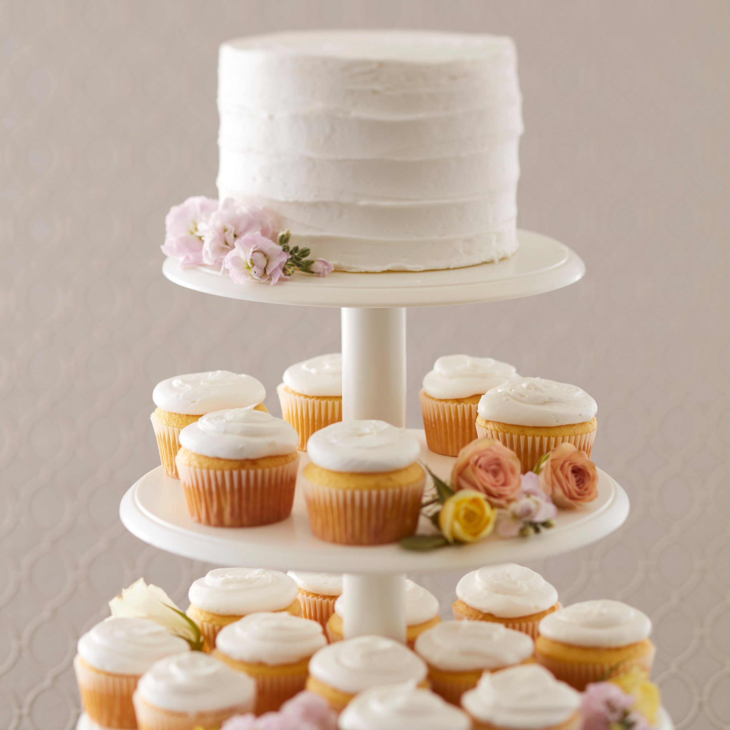Wilton Towering Tiers Cupcake and Dessert Stand, Great for Displaying Cupcakes, Danishes and Your Favorite Hors d'Oeuvres, White, 3-foot, 28-Piece by Wilton (Image #5)