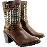 Womens Mid Heeled Stud Panel Biker Riding Boots