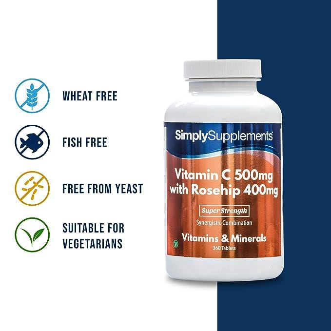 Vitamina C 500mg y Rosa Mosqueta 400mg - 360 comprimidos - hasta 1 año de suministro -SimplySupplements: Amazon.es: Salud y cuidado personal