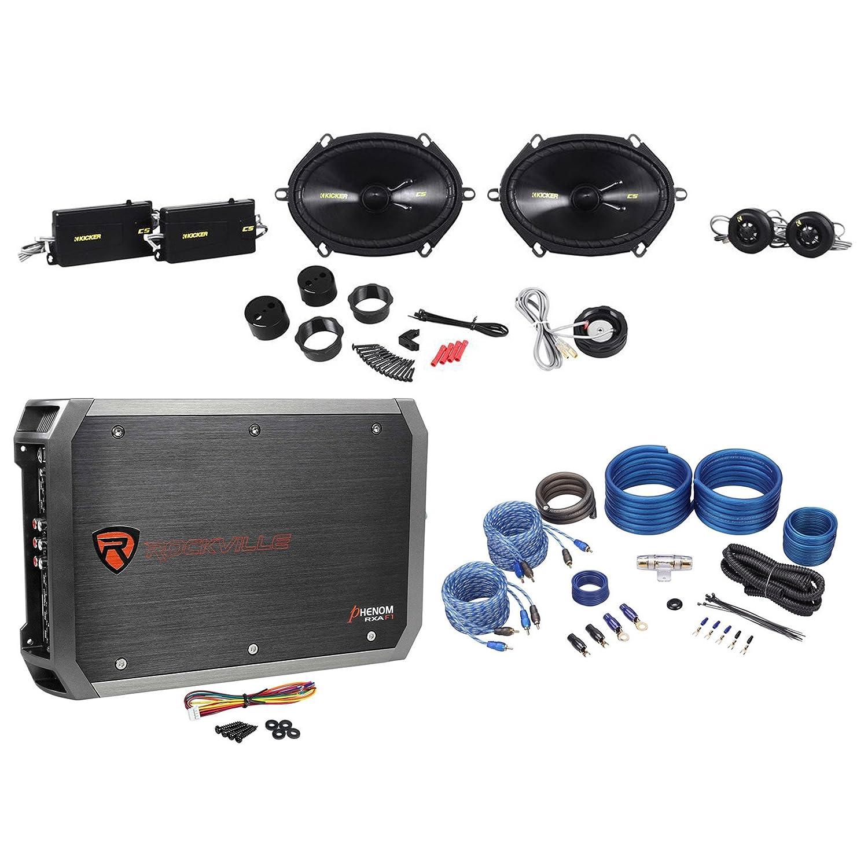 "Amazon.com: Kicker 40CSS684 CSS68 6""x8"" Car Audio Component Speakers+4 Ch.  Amplifier+Amp Kit: Car Electronics"