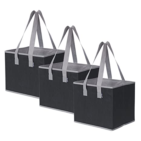 1b7c43ba70a Amazon.com  Planet E Reusable Grocery Shopping Bags - Large Collapsible  Boxes With Reinforced Bottoms Made of Recycled Plastic (Pack of 3)  Kitchen    Dining