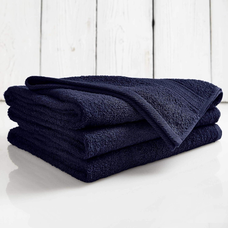 Lumaland Premium Set 4 Toallas (50 x 100) cm + 2 Toallas de baño (70 x 140 cm) Toalla de Rizo Gamuza Azul Marino 100% algodón 500 g/m² con Cinta: Amazon.es: ...