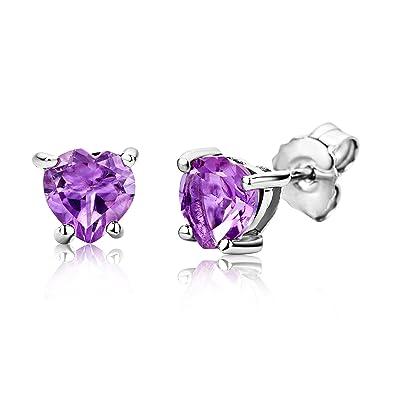 New 925 Sterling Silver Heart Stud Earrings Women/'s Jewellery Purple