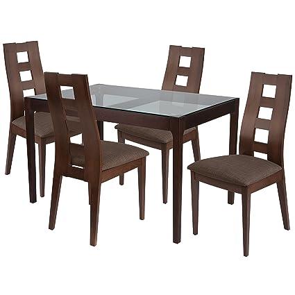 Sensational Amazon Com Flash Furniture Hollister 5 Piece Espresso Wood Frankydiablos Diy Chair Ideas Frankydiabloscom