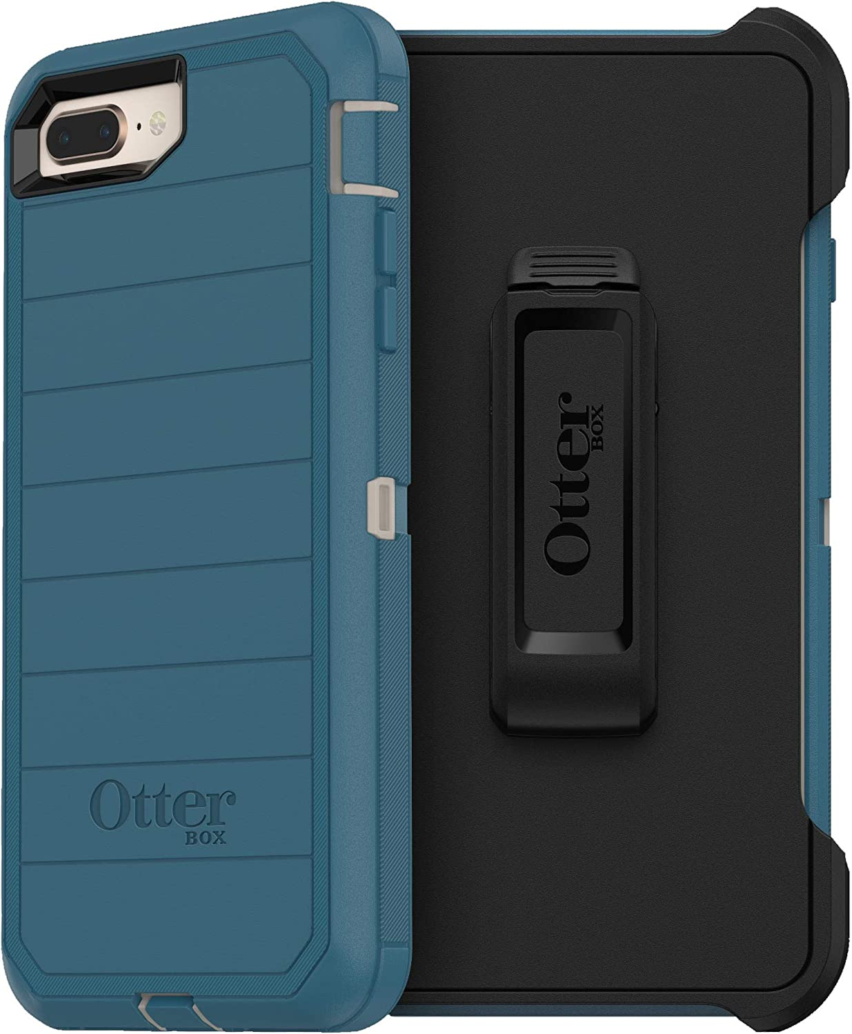 OtterBox Defender Series Rugged Case & Holster for iPhone 8 Plus & iPhone 7 Plus (ONLY) Non-Retail Packaging - Big Sur - with Microbial Defense