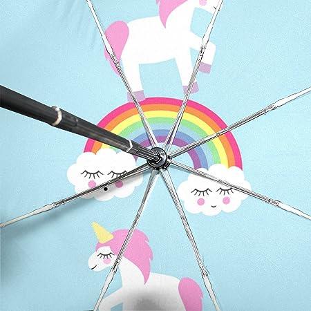 MAPOLO Cute Cartoon Unicorn Rainbow Pink Print Windproof Rain Travel Canopy 3 Folds Auto Open Close Button Umbrella