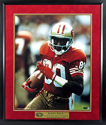 2323f9371bb SF 49ers Jerry Rice Autographed 16x20 Photograph (w SB CHAMP   HOF Plate)  Framed (COA) at Amazon s Sports Collectibles Store