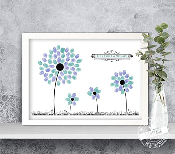 Wedding Tree Blumen Wiese Fur Fingerabdrucke Gastebuch Idee