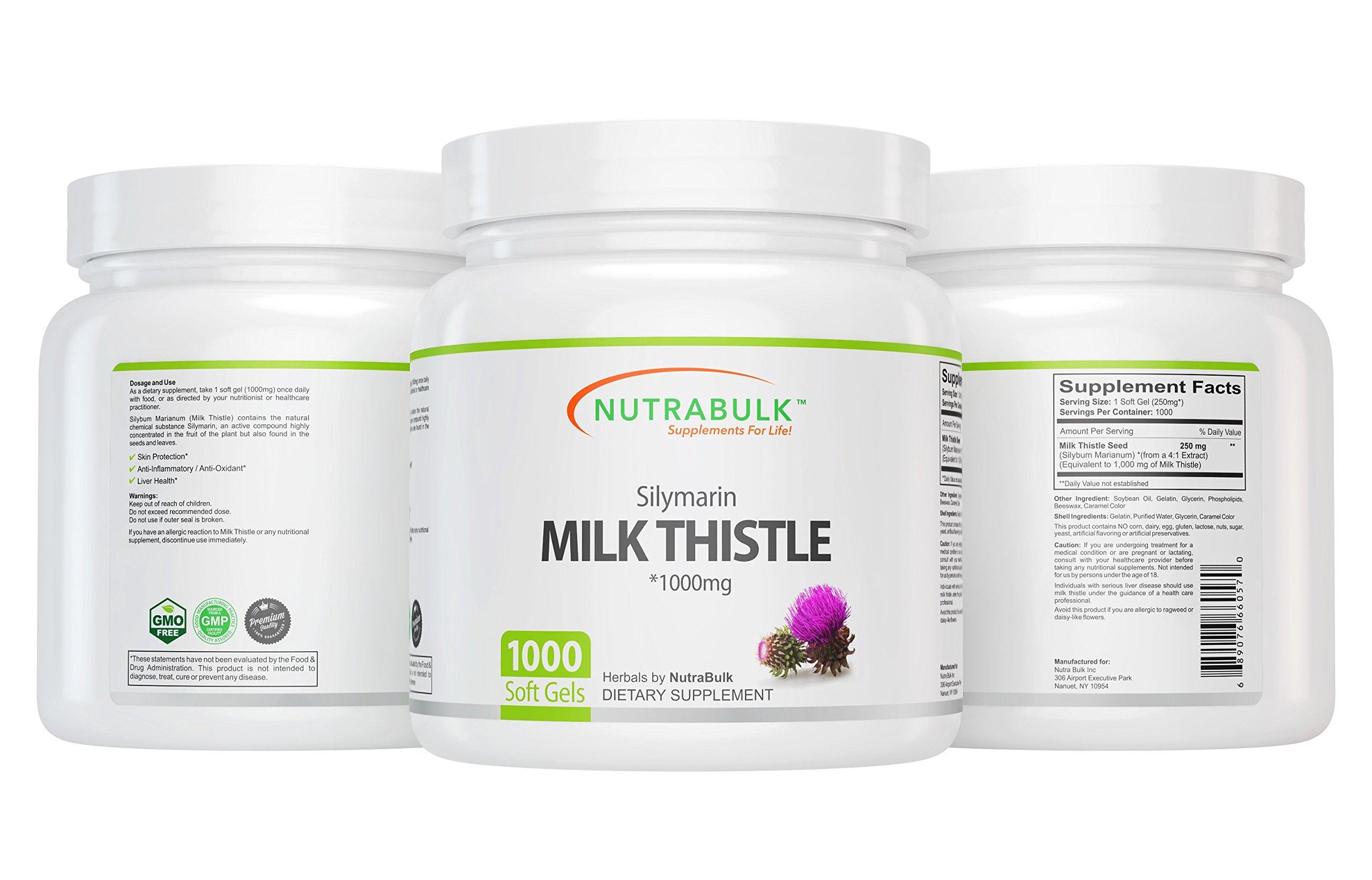 NutraBulk Milk Thistle -1000mg Soft Gels 1000 Count