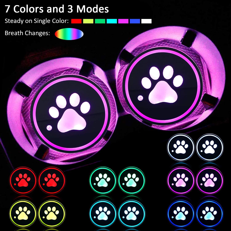 2 Pezzi Sottobicchiere di LED per Auto Portabicchieri di LED USB Ricarica Tampone Luminescente Opaco con Stampa di Zampa per Donna Uomo Bere Accessori da Auto