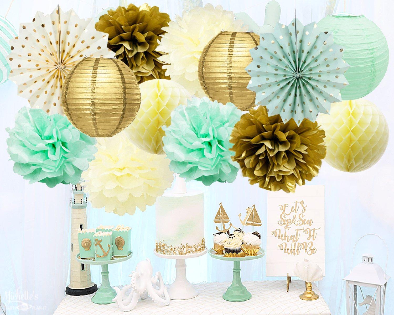 Amazon.com: Baby Shower Decorations Mint Gold Party Decorations ...