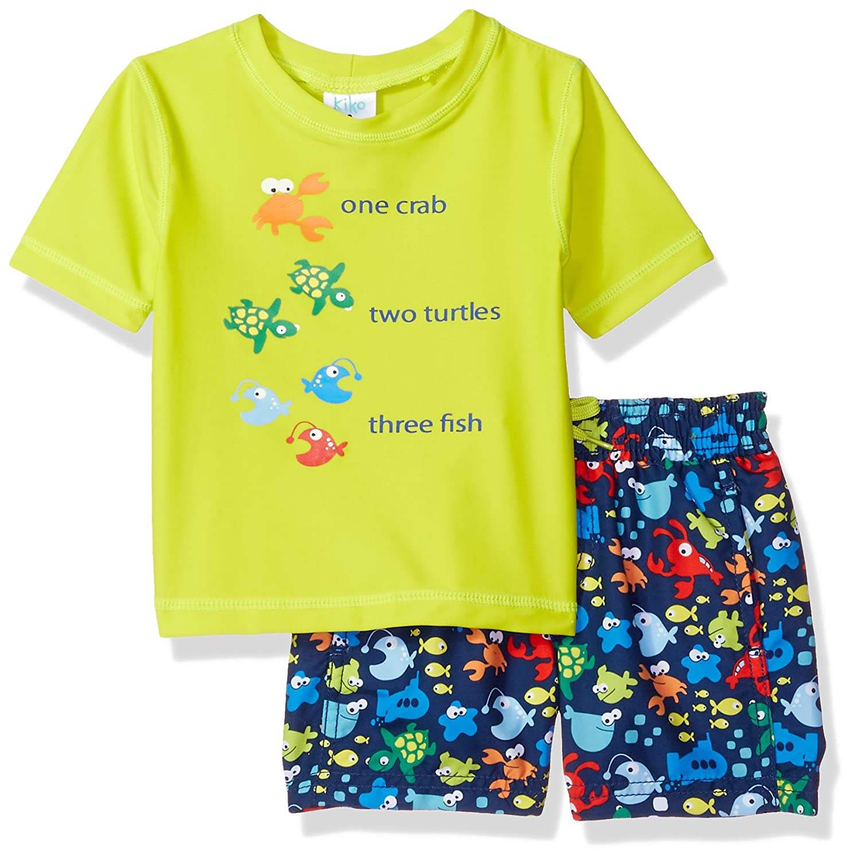 61725ba7d0 Kiko & Max Baby Boys Set with Short Sleeve Rashguard Swim Shirt ...