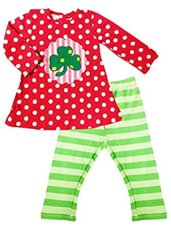 52c3fb675952f Boutique Baby Girls St Patrick's Day Shamrock Clover Polka Dots Tunic  Leggings Stripes Set 2T/
