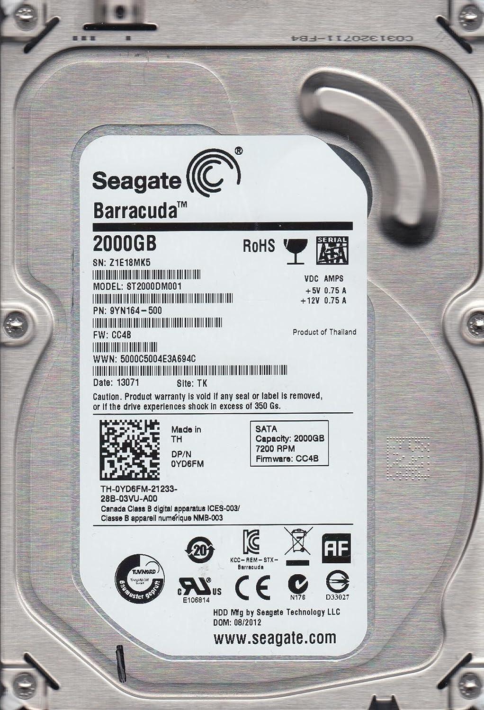 Seagate 2TB SATA 3.5 Hard Drive ST2000DM001 TK Z1E FW CC4B PN 9YN164-500