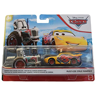 Disney Pixar Cars 1:55 Scale 2 Pack Bumper Save Racing Tractor and Rusteze Cruz Ramirez: Toys & Games