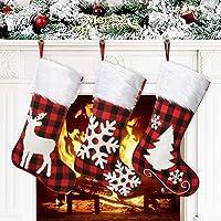 Awroutdoor Medias de Navidad, 3 pcs Calcetines de Navidad para el árbol de Navidad Chimenea Decoración, Adorno de…