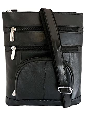 94b0b3470c3 Black Leather Travel Bag - Man Bag in Black Real Leather - Cross Body Neck  Pouch - Holster Side or Shoulder Bags - Great Holiday ...