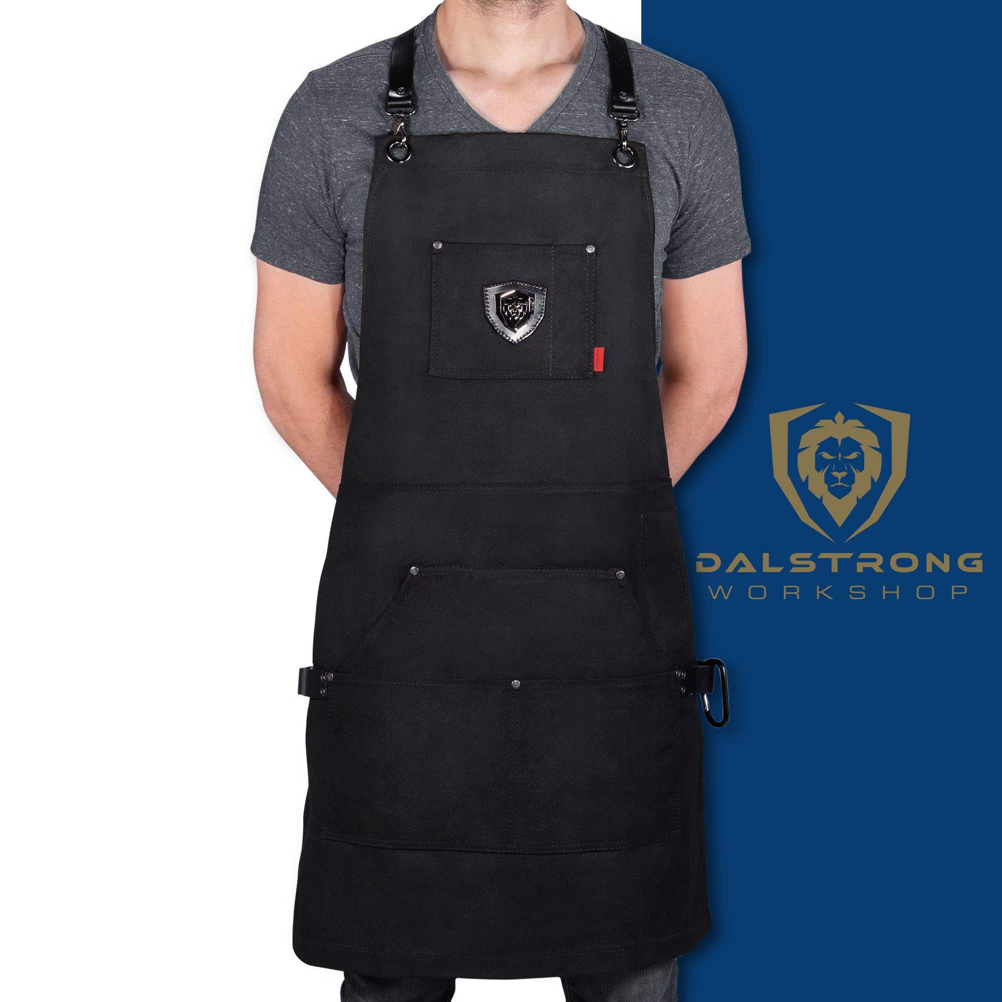 Dalstrong Professional Chef's Kitchen Apron - Sous Team 6'' - Heavy Duty Waxed Canvas - 5 Storage Pockets + Towel & Tong Loop - Liquid Repellent Coating - Genuine Leather Accents - Adjustable Straps