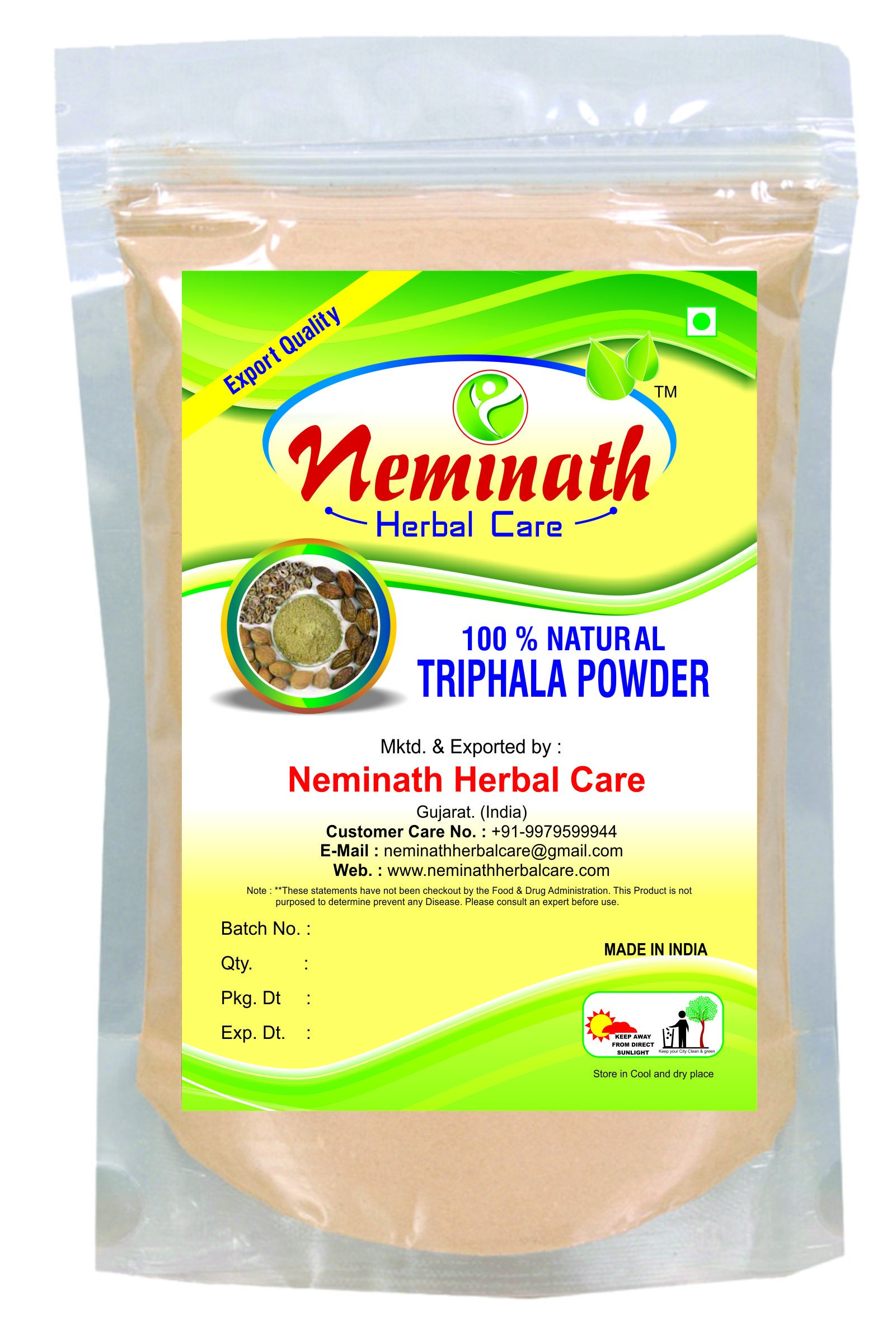 100% Natural Triphala Powder to PREVENT HAIR FALL NATURALLY by Neminath Herbal care (1/2 lb / 8 ounces / 227 g) for HEALTHY HAIRS