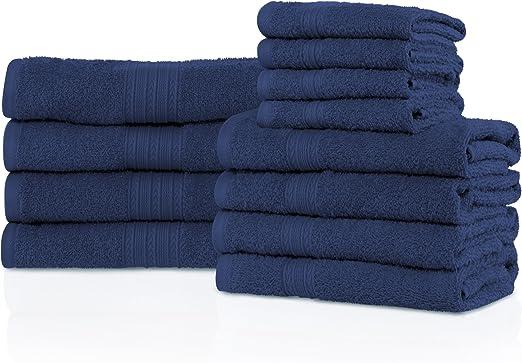NEW NAVY BLUE Color ULTRA SUPER SOFT LUXURY PURE TURKISH COTTON  8 PCS TOWEL SET