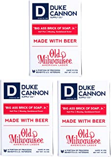 product image for Duke Cannon Supply Co. - Big Ass Brick of Soap, Jr, Made with Old Milwaukee American Lager (3 Pack of 4.5 oz) Superior Grade Soap Made with Old Milwaukee Beer American Lager - Woodsy, Sandalwood